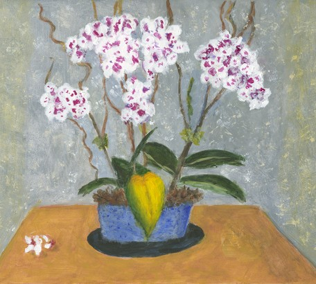 Fuchsia and White Orchids with Yellow Leaf,