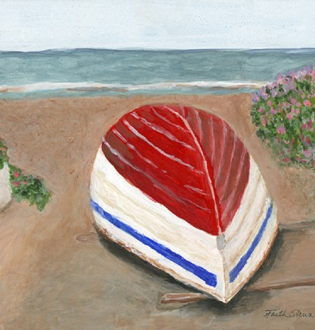 BOAT AT SUMMER'S END, acrylic on gesso board, 11