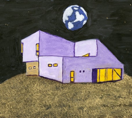 FIRST HOUSE ON THE MOON, acrylic on gesso board, 11