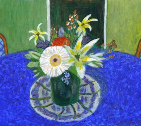 FLOWERS FOR HELEN ON BLUE TABLECLOTH , acrylic on gesso board , 11