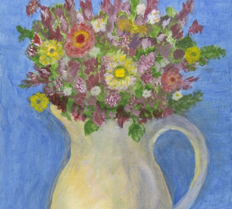 HERMIONE'S FLOWERS - VARIATION #1 , acrylic on gesso board , 11