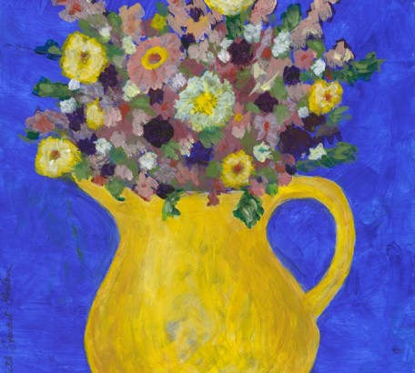 HERMIONE'S FLOWERS - VARIATION #2 , acrylic on gesso board , 11