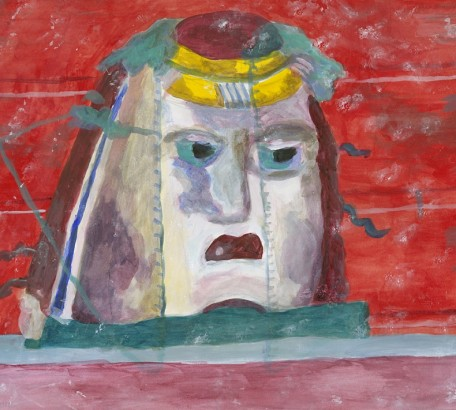 MASK FROM FRESCO IN OPLONTIS , acrylic on paper , 10