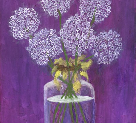 MAUVE AND VIOLET STILL LIFE , acrylic on gesso board , 16