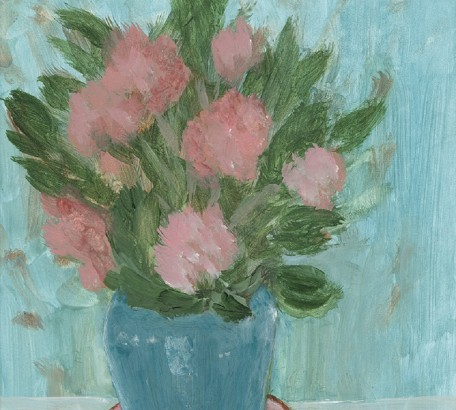 PINK BEGONIAS , acrylic on gesso board , 11