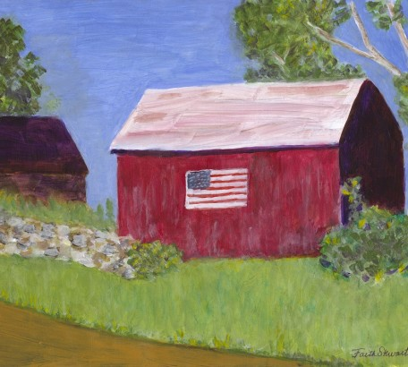 Red Barn with Flag,