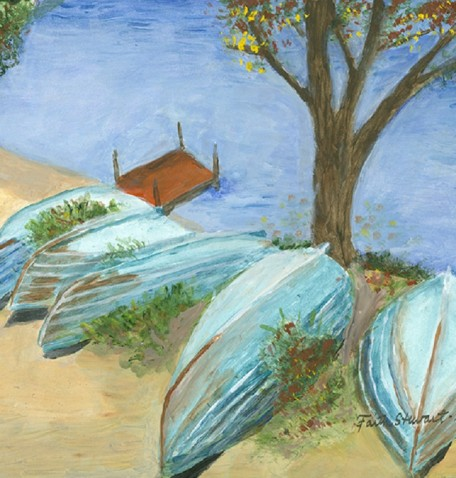 ROW BOATS ON BEACH IN AUTUMN, acrylic on gesso board, 11