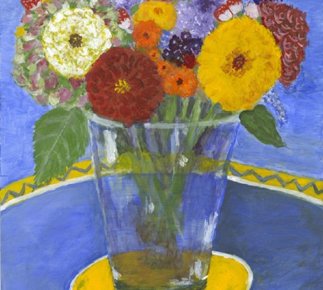 STILL LIFE FLOWERS WITH YELLOW DISH , acrylic on gesso board , 11