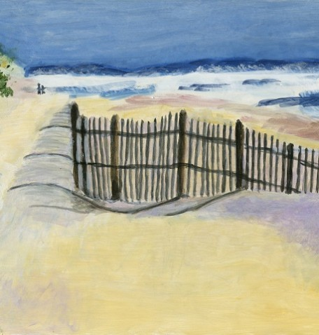 THE OUTER BANKS, acrylic on gesso board, 12