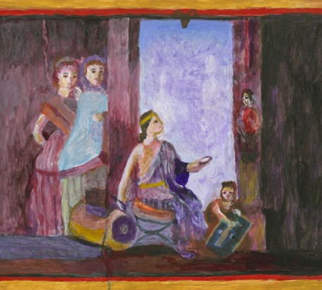 WOMAN PAINTER AT WORK, STUDY OF FRESCO, POMPEII , acrylic on gesso board , 11