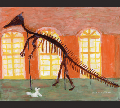 BEAU AND THE DUCK−BILLED DINOSAUR, acrylic on gesso board, 11
