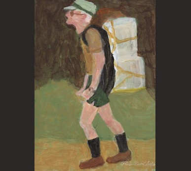 Biologist in the Field, Weatherford, CT, (Part of Collage #1 - CHARACTERS OF NOTE), acrylic on gesso board, Sold