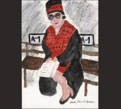 Fashionista, New York City (Part of Collage #1 – CHARACTERS OF NOTE), acrylic on gesso board, Sold