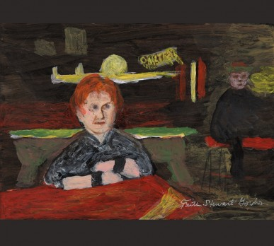 Lucy in Lucy's Bar, East Village, (Part of Collage #1 – CHARACTERS OF NOTE), acrylic on gesso board, Sold