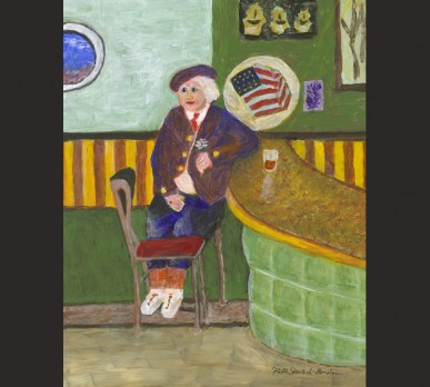 PILAR MONTERO IN HER SALOON, BROOKLYN WATERFRONT, (Part of Collage #1 – CHARACTERS OF NOTE), acrylic on gesso board, Sold